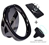 Finger Ring Holder, 360° Rotation Cell Phone Holder Stand Grip Smartphone Kickstand Iphone 7 7 Plus 6s 6 Samsung Galaxy S7 S6 Ipad Tablet Note LG, Includes Magnetic Phone Car Mount, Black