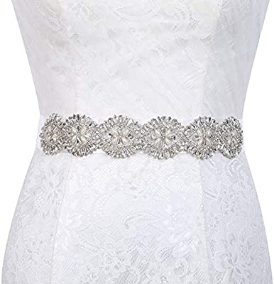 ChicChic Womens Crystal Rhinestone Sash Belt Wedding Dress Sash Bridesmaid Bride Dress Belt
