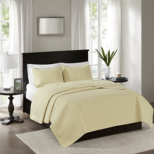 Madison Park Quebec Full/Queen Size Quilt Bedding Set - Yellow, Damask – 3 Piece Bedding Quilt Coverlets – Ultra Soft Microfiber Bed Quilts Quilted Coverlet