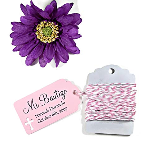Light Pink Baptism Tags - Mi Bautizo - Small Personalized Favor Tags (Set of 20)