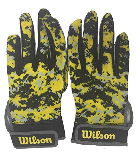 Wilson Football Receiver Gloves Youth L Super Grip Yellow & Black Camo