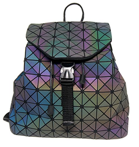 Roffatide Geometric Luminous Rhombus Laser Sequins Backpack Shoulder Bag Satchel Rucksack for Women and Men Triangular