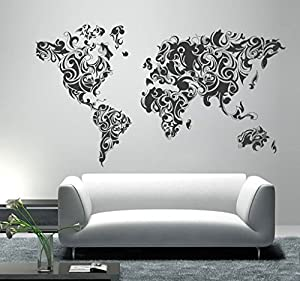 Amazon tribal floral world map sticker 787 x 472 inches tribal floral world map sticker 787 x 472 inches 200 x 120 cm gumiabroncs Choice Image