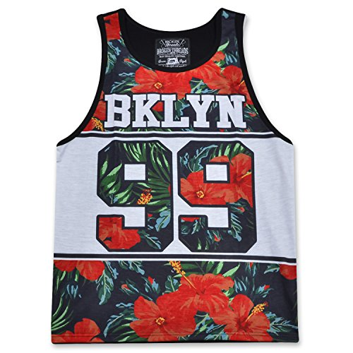Broken Threads Men's Sleeveless Crewneck Fashion Brooklyn 99 Tank Top T-Shirt Floral Large (Red Flower Shirts)