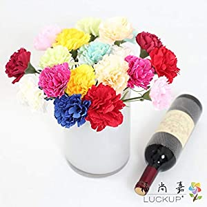 LUCKUP 6 PCS Short Single stem Artificial Flower Carnation Silk Flowers Home Wedding Party Decoration 10 Colors Available F475 8