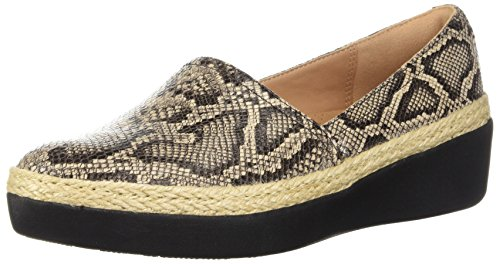 FitFlop Women's CASA Loafers Sneaker, Taupe Snake, 6 M US