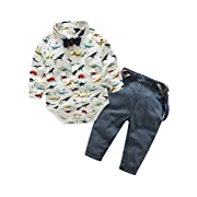 Abolai Baby Boy Long Sleeve Cute Diansour Pattern Romper Suspenders Pant Sets Outfit Set White 70