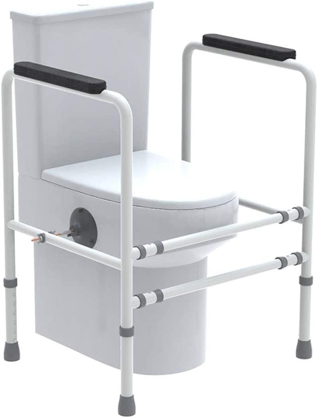 AXD Elderly Free Standing Toilet Frame, Anti-Slip Safety Hand Rail Width and Height Adjustable Disabled Grab, Support for Toilet Bar Bath Bathroom
