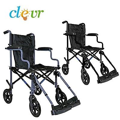 "Clver Medical Aluminum Transport Chair Wheelchair , 19"""