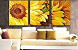 100% Hand Painted Art Abstract Oil Painting Yellow Sunflower 3 Piece Wall Art Group Painting Canvas Art (unframed and unstretched)