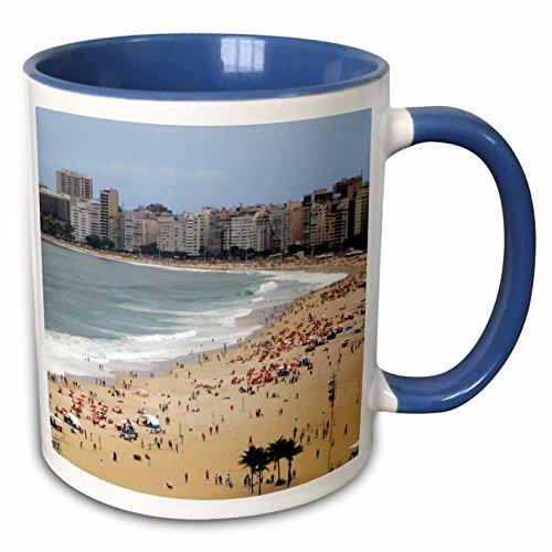 3dRose Danita Delimont - Beaches - Brazil. Rio de Janeiro. Copacabana Beach - SA04 KWI0183 - Kymri Wilt - 15oz Two-Tone Blue Mug (mug_140962_11)