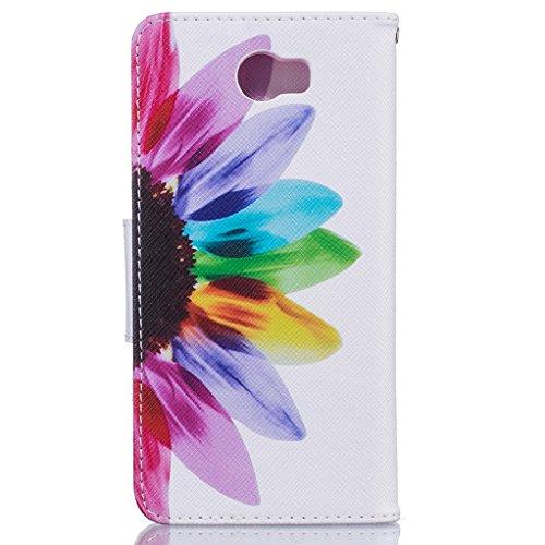 Trumpshop Smartphone Carcasa Funda Protección para Huawei Y5 II + Gatos + PU Cuero Caja Protector Billetera con Cierre magnético [No compatible con Y5] Girasol