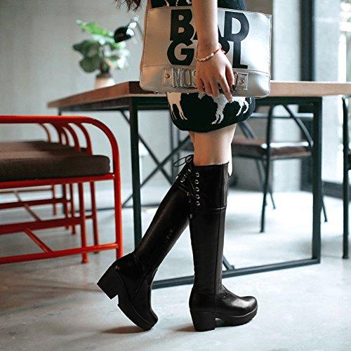 Tacco Da Donna Con Cerniera Arrotondata Tacco Grosso Gambaletto Gladiatore Alto Con Lacci Nero