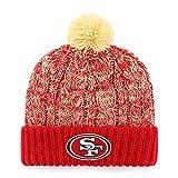 OTS NFL San Francisco 49ers Women's Brilyn Cuff Knit Cap with Pom, Red, Women's