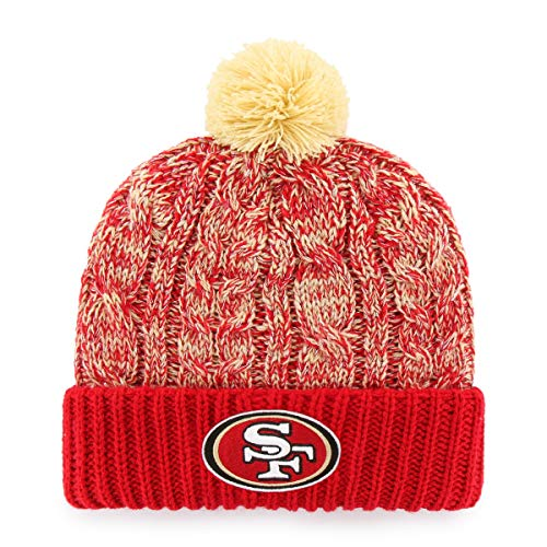 OTS NFL San Francisco 49ers Women's Brilyn Cuff Knit Cap with Pom, Team Color, Women's (47 Brand Beanie Pom)
