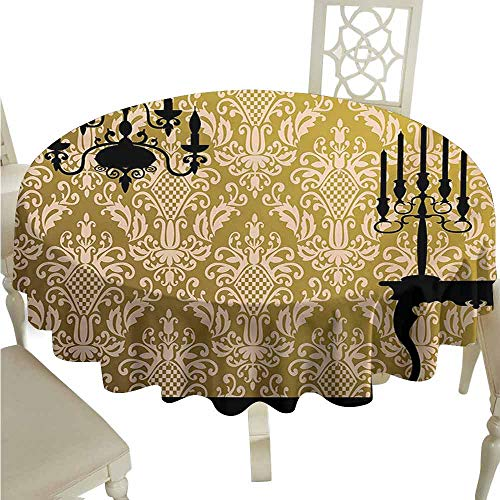 duommhome Damask Waterproof Tablecloth English Country House Damask Motif on Wall and Chandelier Silhouettes Renaissance Easy Care D55 Yellow Black
