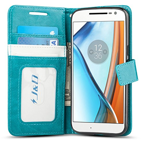 J&D Case Compatible for Moto G4 Case/Moto G4 Plus Case, [Wallet Stand] [Slim Fit] Heavy Duty Shock Resistant Flip Cover Wallet Case for Motorola Moto G4/G4 Plus Wallet Case - [Not for Moto G4 Play] (Best Moto G4 Cases)