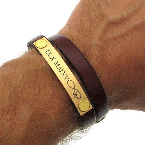 266b4dc61b2b8 Amazon.com: Mens Birthday Gift - Personalized Leather Bracelet men ...