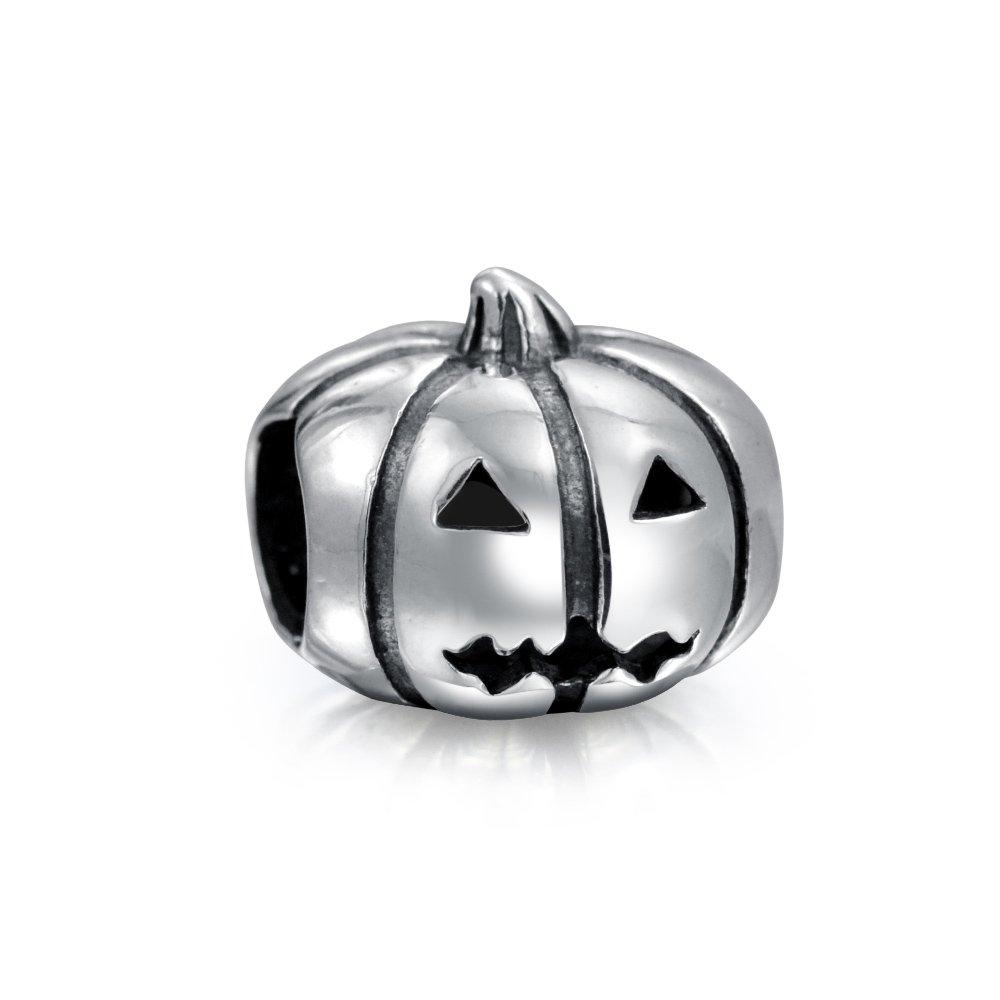 Bling Jewelry Jack-O-Lantern Pumpkin Halloween Bead Charm .925 Sterling Silver PBX-HS-374D