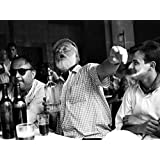 Ernest Hemingway Writer Table Drink BW 32x24 Print Poster