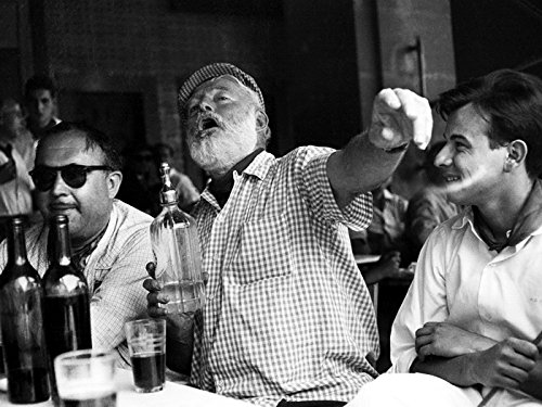 Ernest Hemingway Writer Table Drink Bw Print Poster