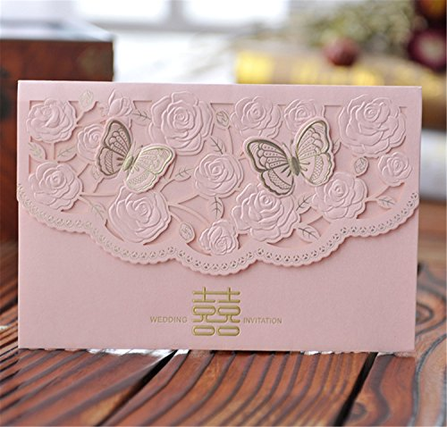 - Skyseen 25Pcs Chinese Double Happiness Laser Cut Hollow Out Floral Design Wedding Invitation Card(Pink)