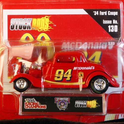 (Racing Champions Issue No. 130 #94 Bill Elliott 1/64 scale diecast stock rods with collectible card numbered Limited Edition 50th anniversary 34 Ford coupe)