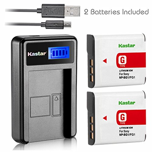 Kastar Battery (X2) & LCD Slim USB Charger for Sony NP-BG1 NP-FG1 NPBG1 and Cyber-Shot DSC-HX5V HX7V HX9V HX10V HX30V DSC-W120 W150 W220 DSC-H3 DSC-H7 DSC-H9 DSC-H10 DSC-H20 DSC-H50 DSC-H55 DSC-H70
