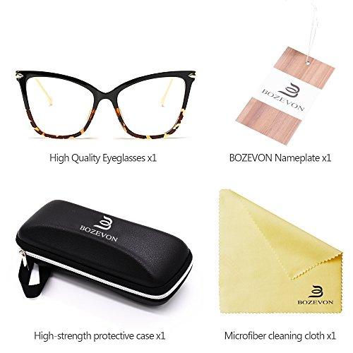 Negro Gafas BOZEVON Transparente Mujer Moda Sol Clásico Ojo Gato leopardo Fiesta Gafas Retro de de Transparente Oversize CHqgpw
