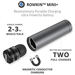 Rowkin Mini Plus+ Truly Wireless Headphone Bluetooth 4.1 Earbud w/ Mic. Smallest Cordless Hands-free Stereo Earphone Headset w/ Portable Charger & Noise Reduction (BUY 2 for Stereo Sound) - Space Gray