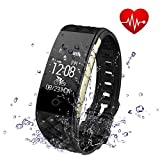 Fitness Tracker - Toprime Waterproof Activity Tracker with Heart Rate Monitor Sleep Monitor Pedometer Calorie Counter - Smart Watch for Android and IOS - Black