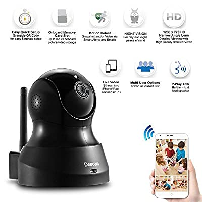 Deecam D200 Wireless IP/Network Security HD 720P Surveillance Camera Pan & Tilt with Two-Way Audio, Day/Night