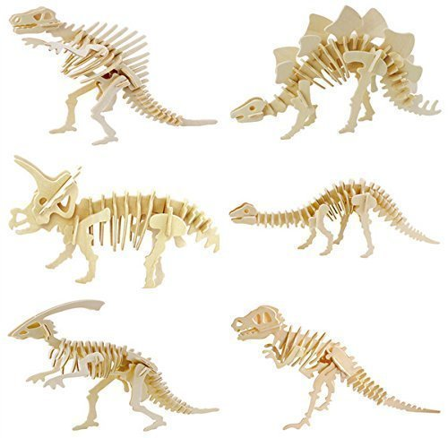 WISDOMTOY 3D Wooden Simulation Animal Dinosaur Assembly Puzzle Model Toy for Kids and Adults, 6-piece Set -