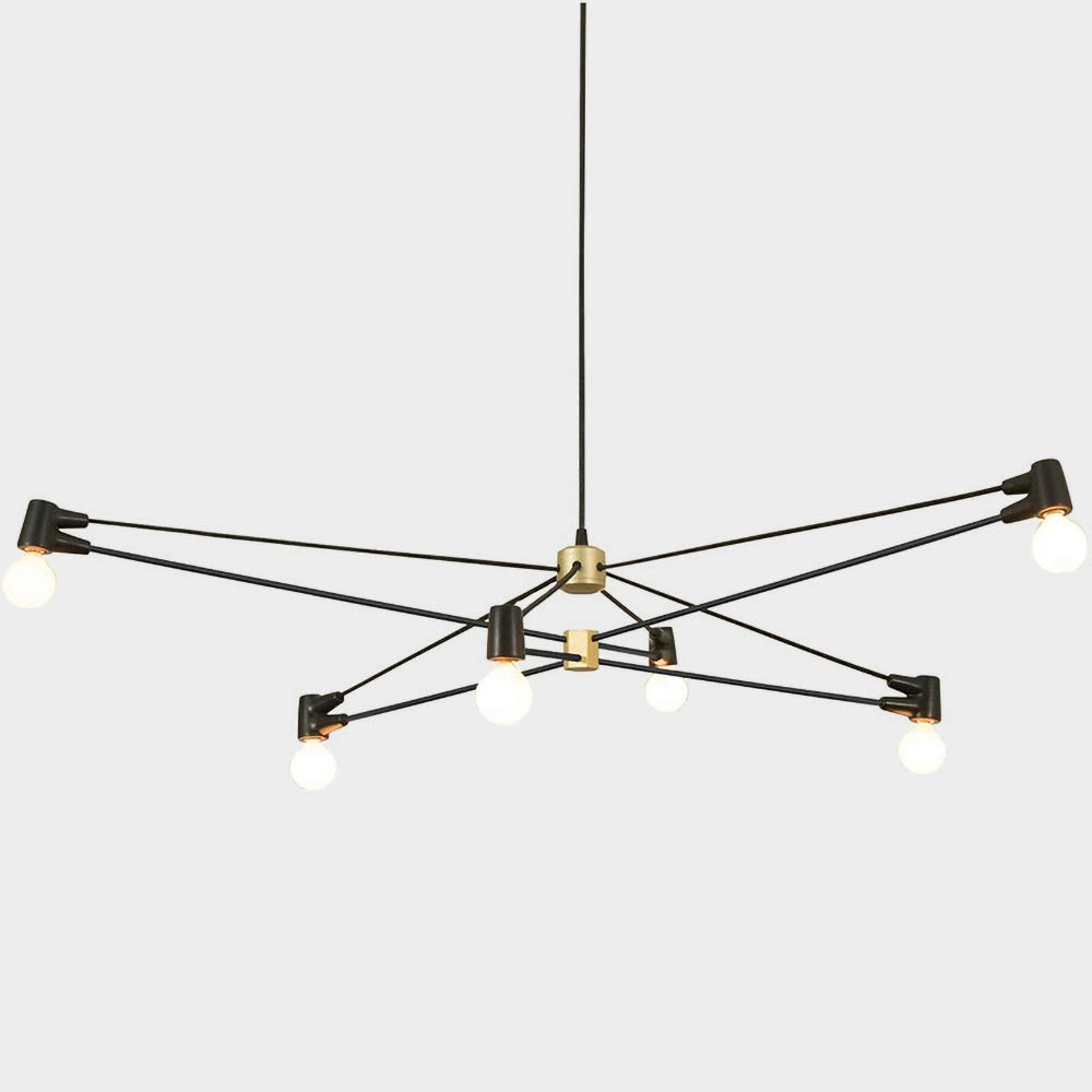 AIDOS 6-Light Metal Island Pendant Light, Mid Century Modern Sputnik Chandelier Ceiling Light, Fixtures Flush Mount Lighting for Restaurant Foyer Bedroom