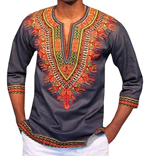 Dellytop Mens African Dashiki Autumn Fashion Print Sleeve T Shirt