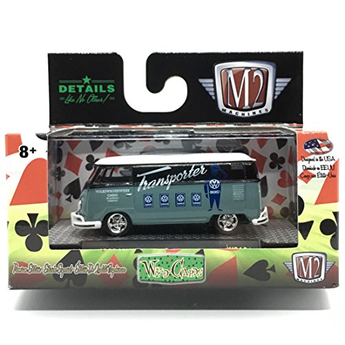 M2 Machines 1960 VW Delivery Van USA Model (Pastel Green Bottom, Gloss Black Middle & White Top) - Wild Cards Release 12 2017 Castline Premium Edition 1:64 Scale Die-Cast Vehicle (WC12 16-53)