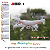 Amazingbuy - Syma X5C-1 2.4Ghz 6-Axis Gyro RC Quadcopter Drone UAV RTF UFO with HD Camera - New Updated Upgraded Version X5C-1 Smaller Packing Orginal Box - 4 additional Propellers + 2GB Memory Card + Card Reader + 5 Batteries + Tracking Number