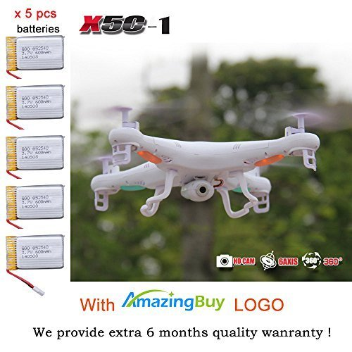 Amazingbuy-Syma-X5C-1-24Ghz-6-Axis-Gyro-RC-Quadcopter-Drone-UAV-RTF-UFO-with-HD-Camera-New-Updated-Upgraded-Version-X5C-1-Smaller-Packing-Orginal-Box-4-additional-Propellers-2GB-Memory-Card-Card-Reade
