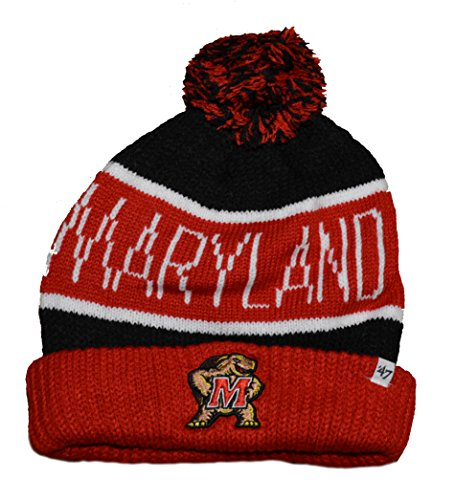 """'47 Maryland Terrapins Red Cuff""""Calgary"""" Beanie Hat with Pom"""