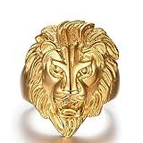 Epinki Gold Plated Ring, Men's Finger Ring Lion Head Gold Size 11