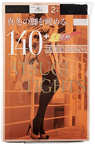 伝染性統計的熱(アツギ )ATSUGI TIGHTS 140デニール+光発熱 プレーン タイツ 2足組×3セット ブラック