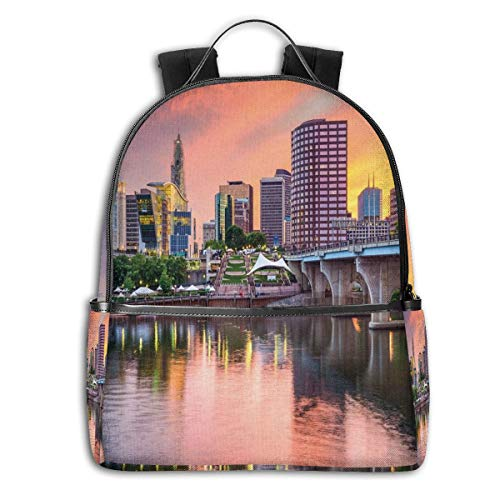 College Backpacks for Women Girls,Water Reflection In Evening Urban City Hartford Connecticut Tranquil Sunset,Casual Hiking Travel Daypack