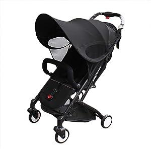 Baby Stroller Sun Shade Sun Protection Pram for Strollers Car Seats Pushchair Buggy Sunshade Parasol Sun Rain Canopy Cover Protection Stroller Accessories Awning Anti-UV Umbrella Sun Shade (Black)