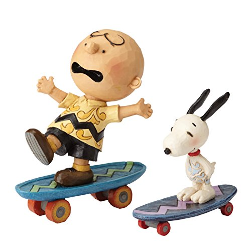 """Peanuts by Jim Shore Charlie Brown and Snoopy Stone Resin Figurine, 4.125"""""""