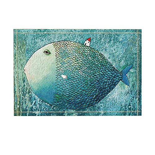 Creative Exaggerated House on Fish Back in The Sea Bath Rugs Non-Slip Doormat Floor Entryways Outdoor Indoor Front Door Mat Kids Bath Mat 15.7X23.6In Bathroom Accessories Turquoise (& Mats Rugs Fish Bath)