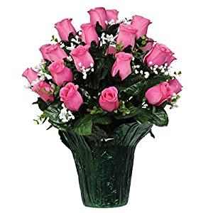 Pink Rose Bud with Babys Breath Artificial Weighted Potted Bouquet (PT1525) 58