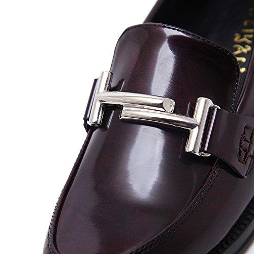 De Carré Claret Bout Microfibre Rond Des Fermeture En Talons Sans Adeesu Chaussures Femmes Oxfords O6IxX