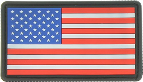 Military Uniform USA American Flag Patch Military Hook & Loop Flag Patch (Red White Blue PVC - Black Border)