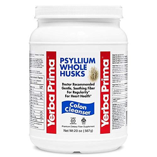 Yerba Prima PSYLLIUM WHOLE HUSKS Colon Cleanser, 20oz - (68 Servings) - Laxative Husk Psyllium