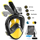 Glymnis Snorkel Mask Full Face Foldable Tube 180 ° View Anti-Leak with Removable
